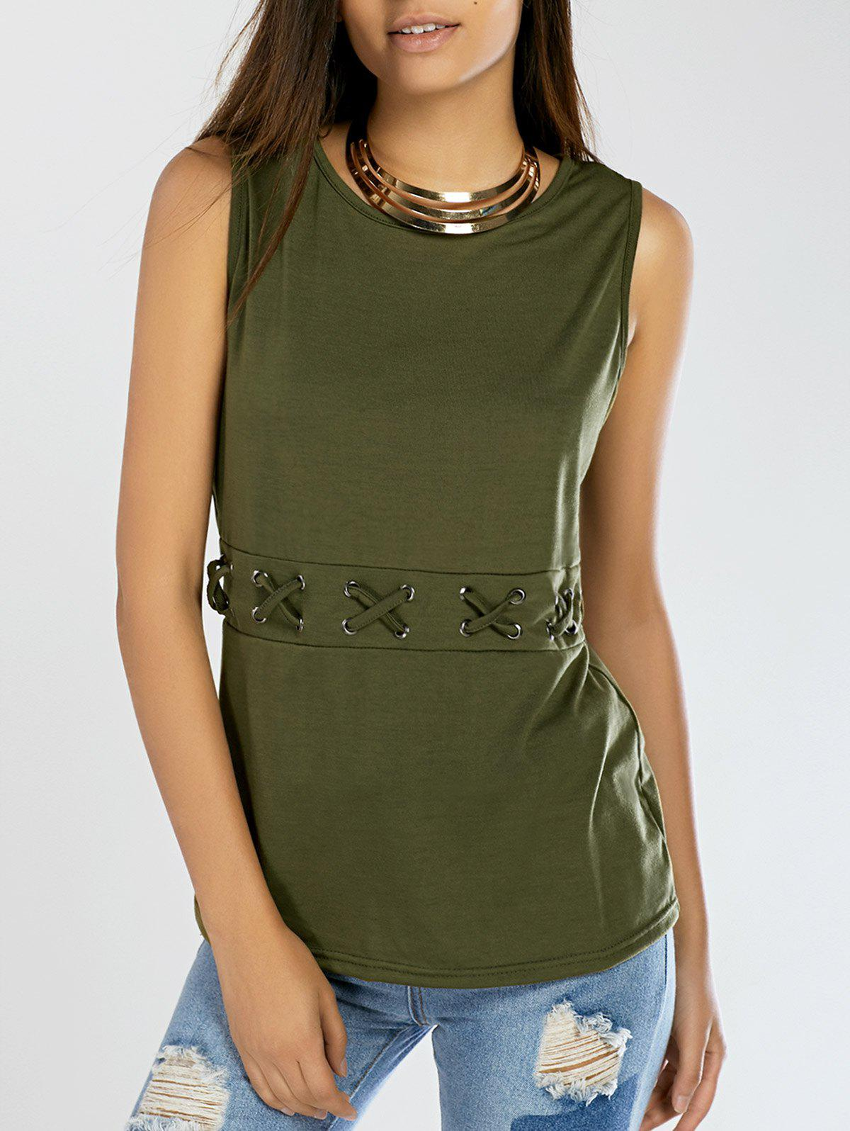 Lace-Up Pure Color Tank Top - ARMY GREEN S