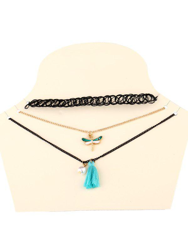 Lace Dragonfly Tassel Necklaces - BLACK
