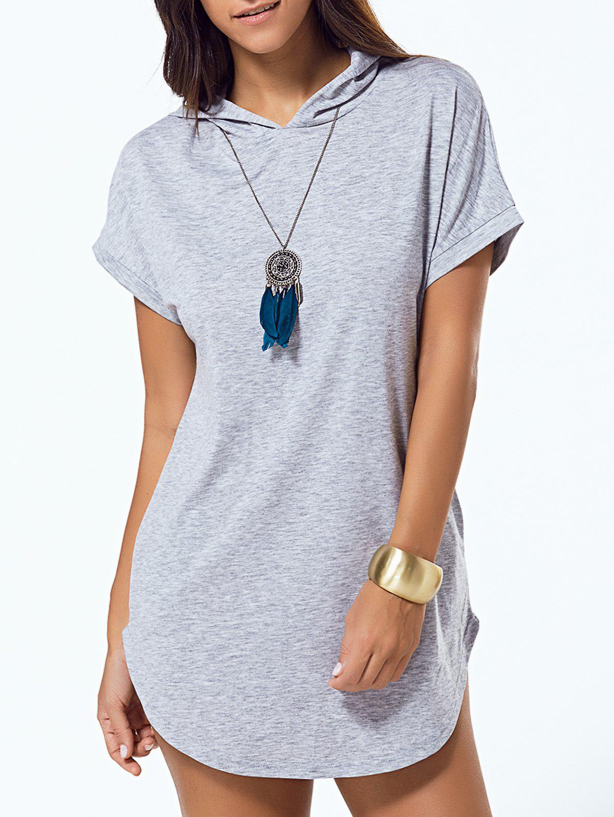 Hooded Pure Color Loose Asymmetric DressWomen<br><br><br>Size: S<br>Color: GRAY