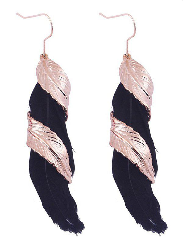 Pair of Alloy Feather Earrings - BLACK