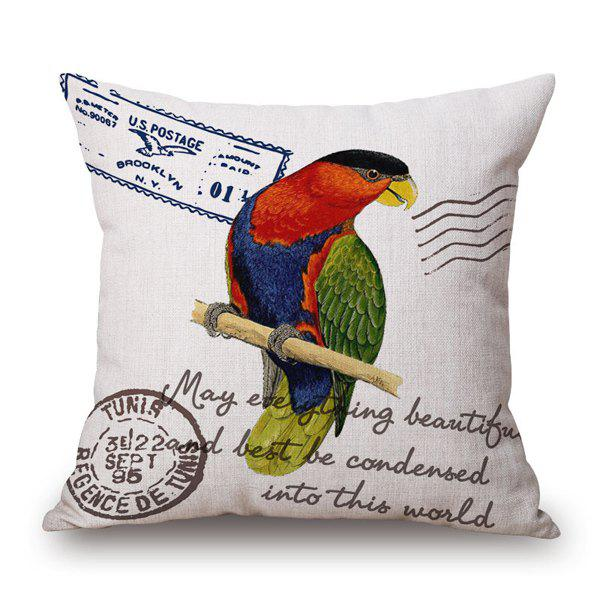 Vintage Colorful Bird on Branch Stamp Design Sofa Pillow Case - COLORFUL