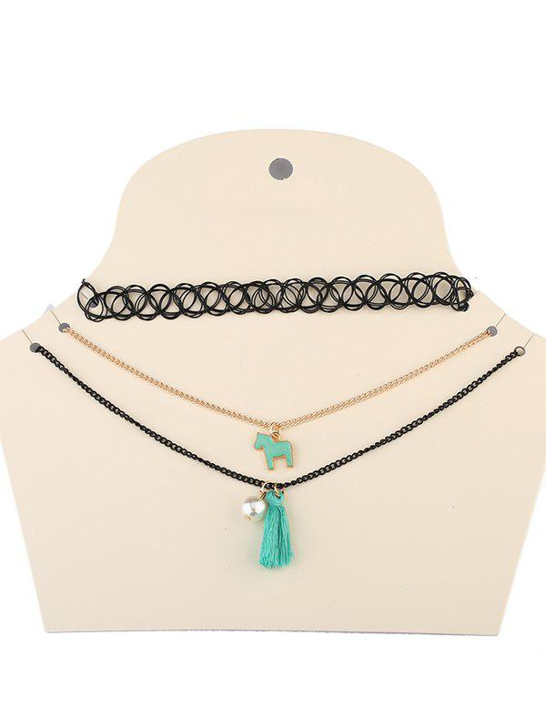 Tassel Faux Pearl Pony Necklaces - BLACK