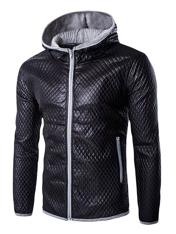 Retro Color Block Hooded Quilting Leather Coat For Men - GRAY XL