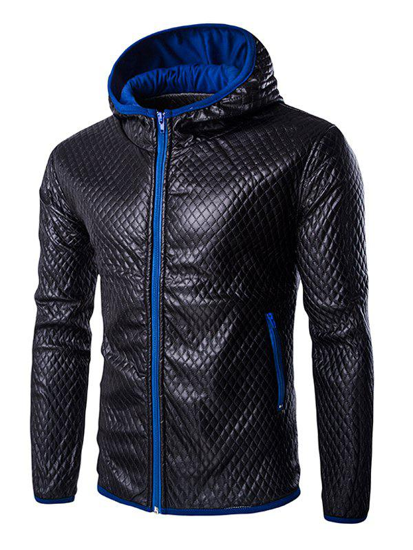Retro Color Block Hooded Quilting Leather Coat For Men - BLUE M