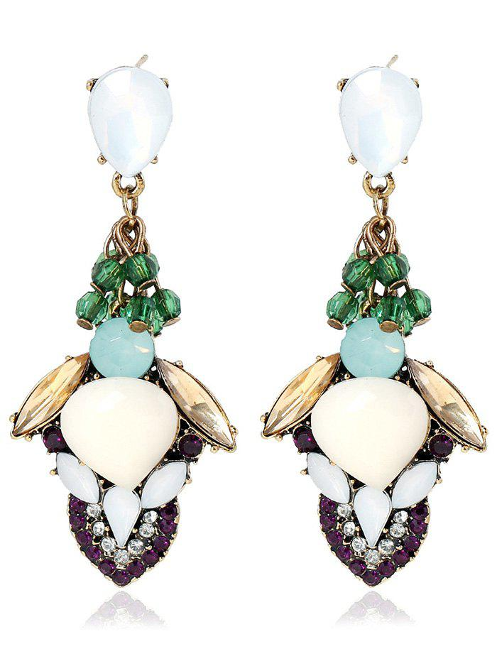 Pair of Vintage Stacked Faux Gem Earrings - COLORMIX