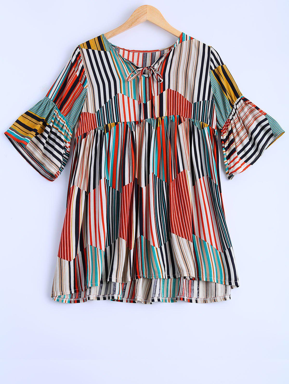 Plus Size Sweet Colorful Striped Blouse - COLORMIX XL