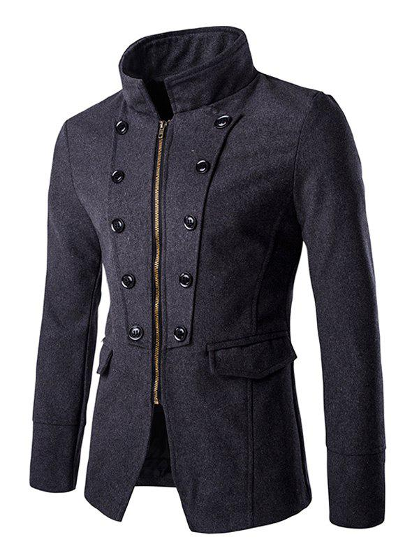 Chic Button Design Stand Collar Zipper Openning Overcoat For Men - GRAY 2XL