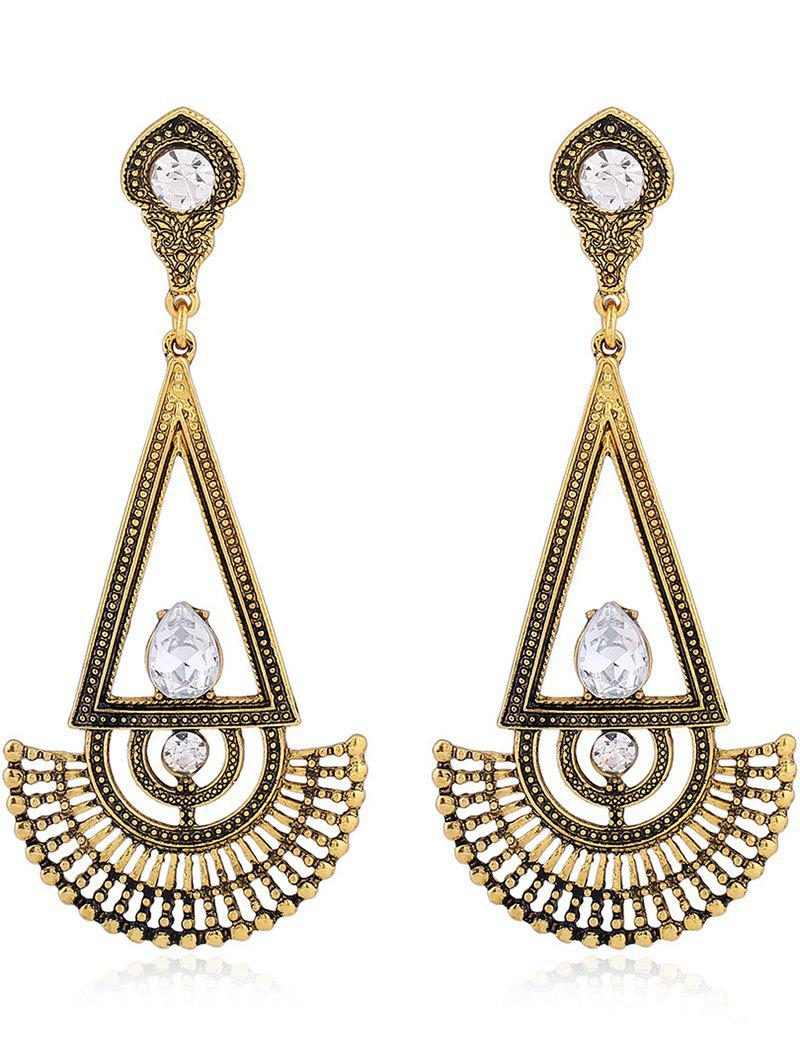 Pair of Vintage Rhinestone Fan Dangle Earrings - GOLDEN