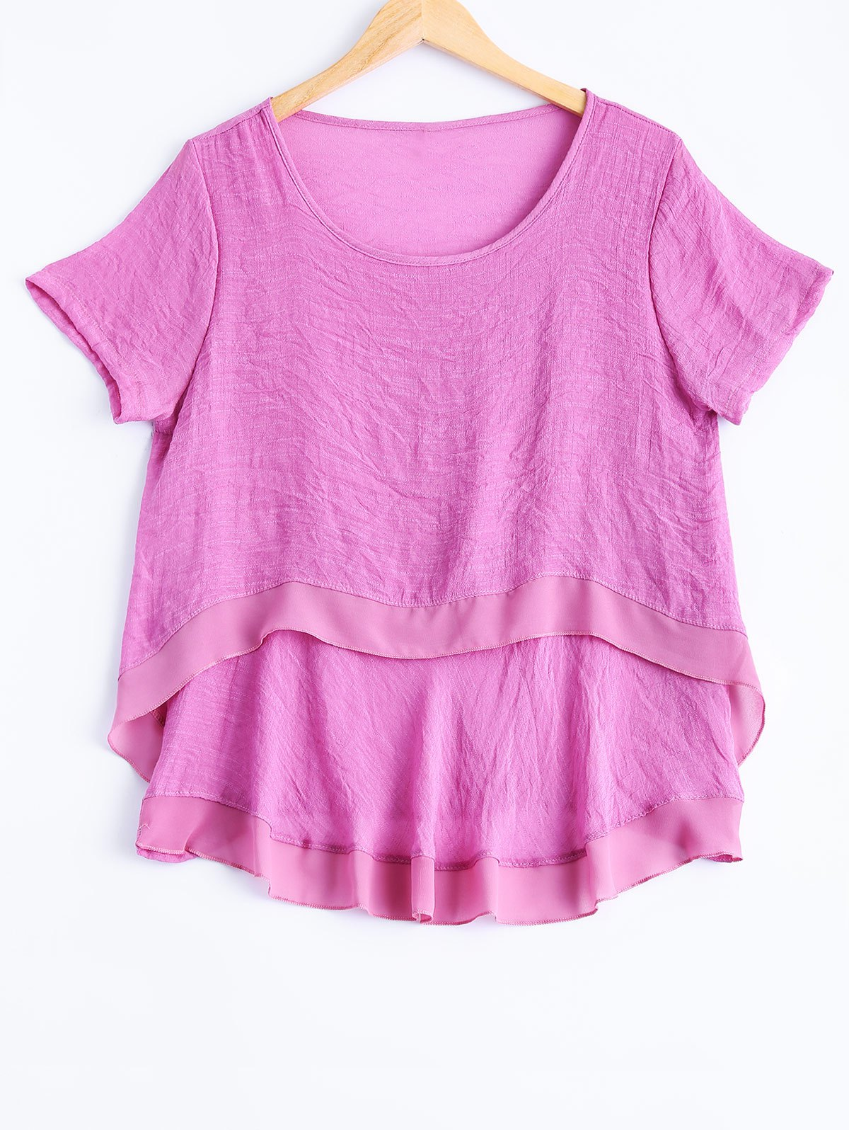 Plus Size Sweet Double Layer Blouse - PINK 5XL