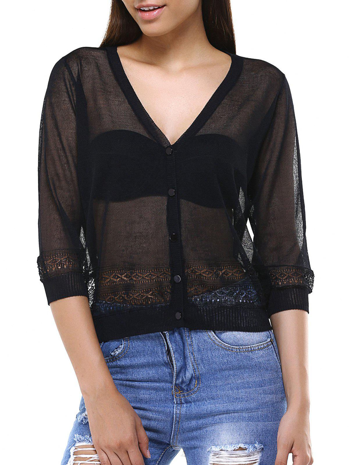 Hollow Out See-Through Buttoned Cardigan - BLACK ONE SIZE