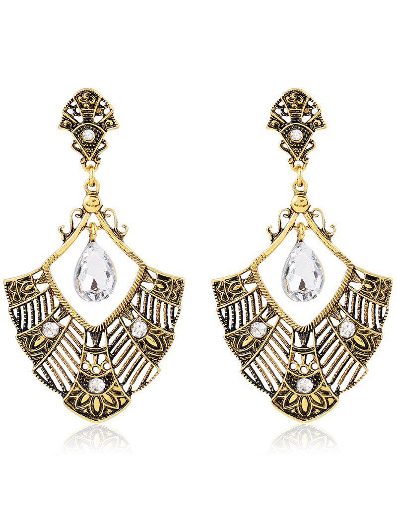 Pair of Stylish Rhinestone Hollowed Statement Earrings