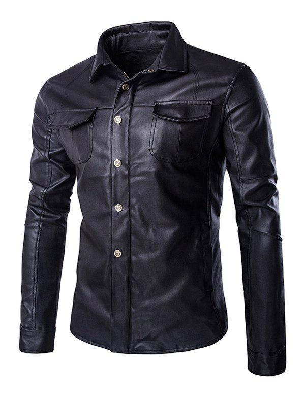 Retro Turn-Down Collar Flap-Pocket Design Leather Coat For Men