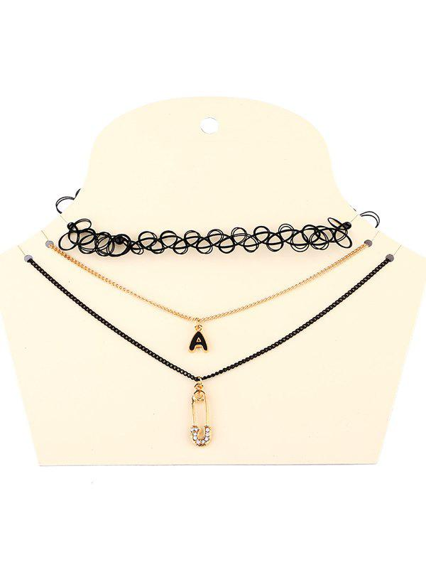 Lace Letter A Necklaces - BLACK