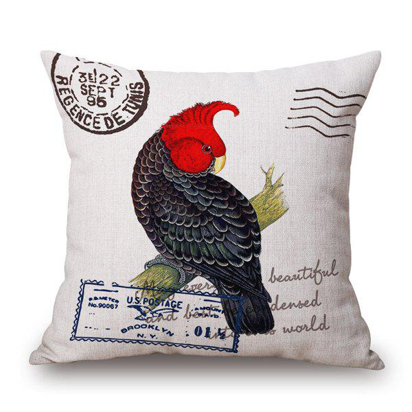 Fashional Engliah Proverb Postmark Letter and Parrot Design Sofa Pillow Case - RED/BLACK