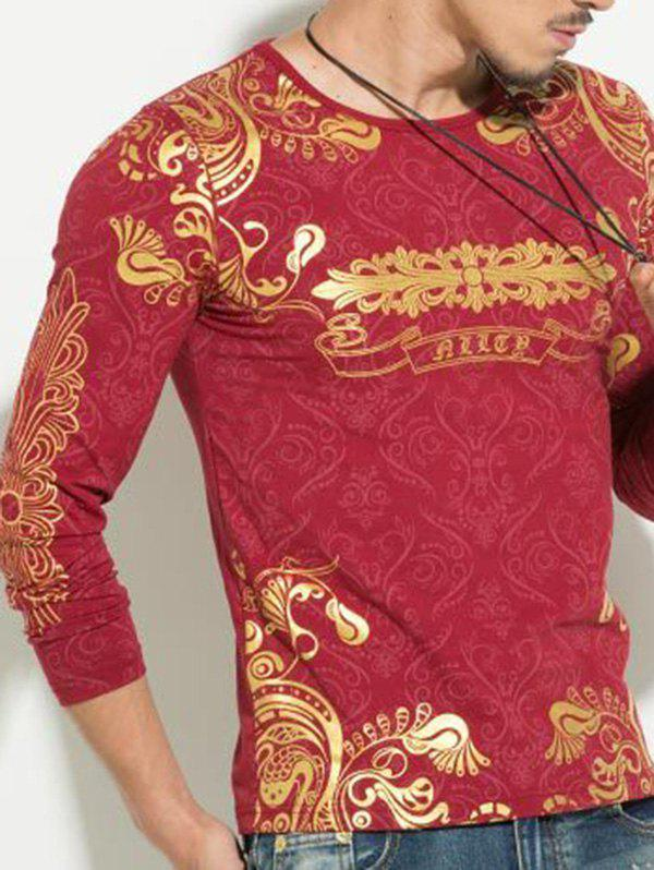 Hot Stamping Printing Round Neck Men's Long Sleeve T-Shirt - RED 2XL
