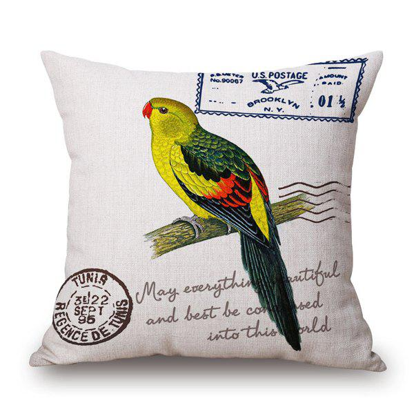 Vintage Parrot English Quote Postmark Stamp Design Pillow Case - YELLOW/GREEN