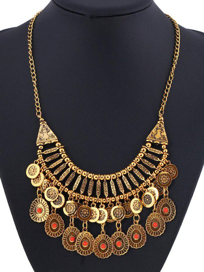 Coin Fringed Embossed Statement Necklace - GOLDEN