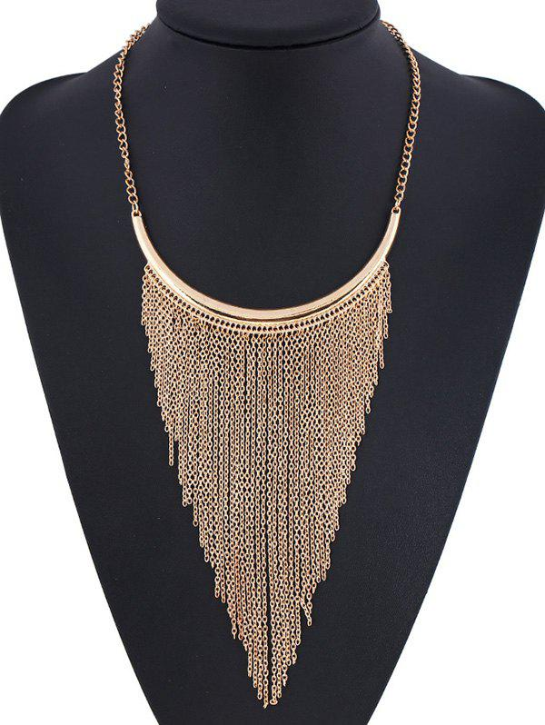 Statement Long Chain Fringe Necklace - GOLDEN
