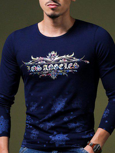 Round Neck Floral Print Men's Long Sleeve T-Shirt