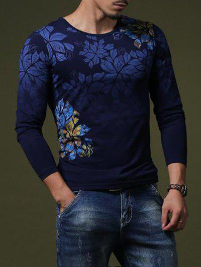 Stylish Flower Print Slim Fit Round Neck Long Sleeves T-Shirt For Men - SAPPHIRE BLUE M