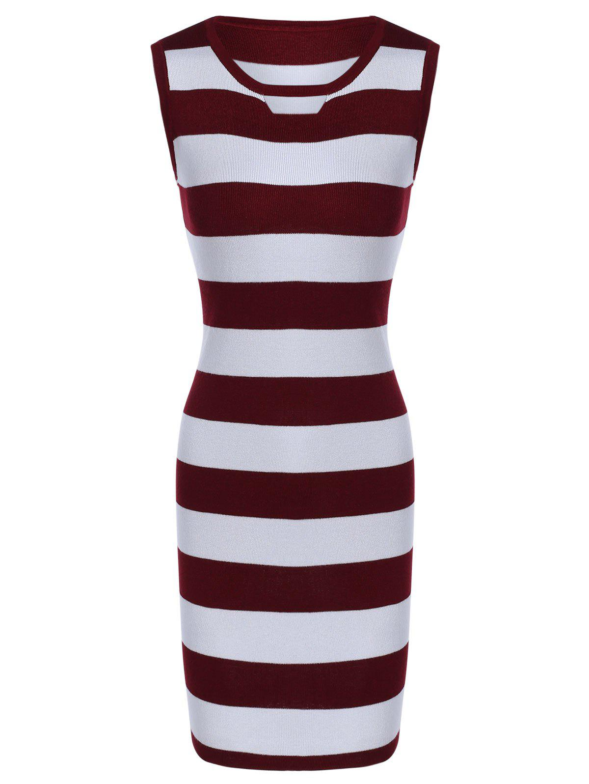 Sleeveless Hollow Out Striped Knitted Dress - WINE RED ONE SIZE