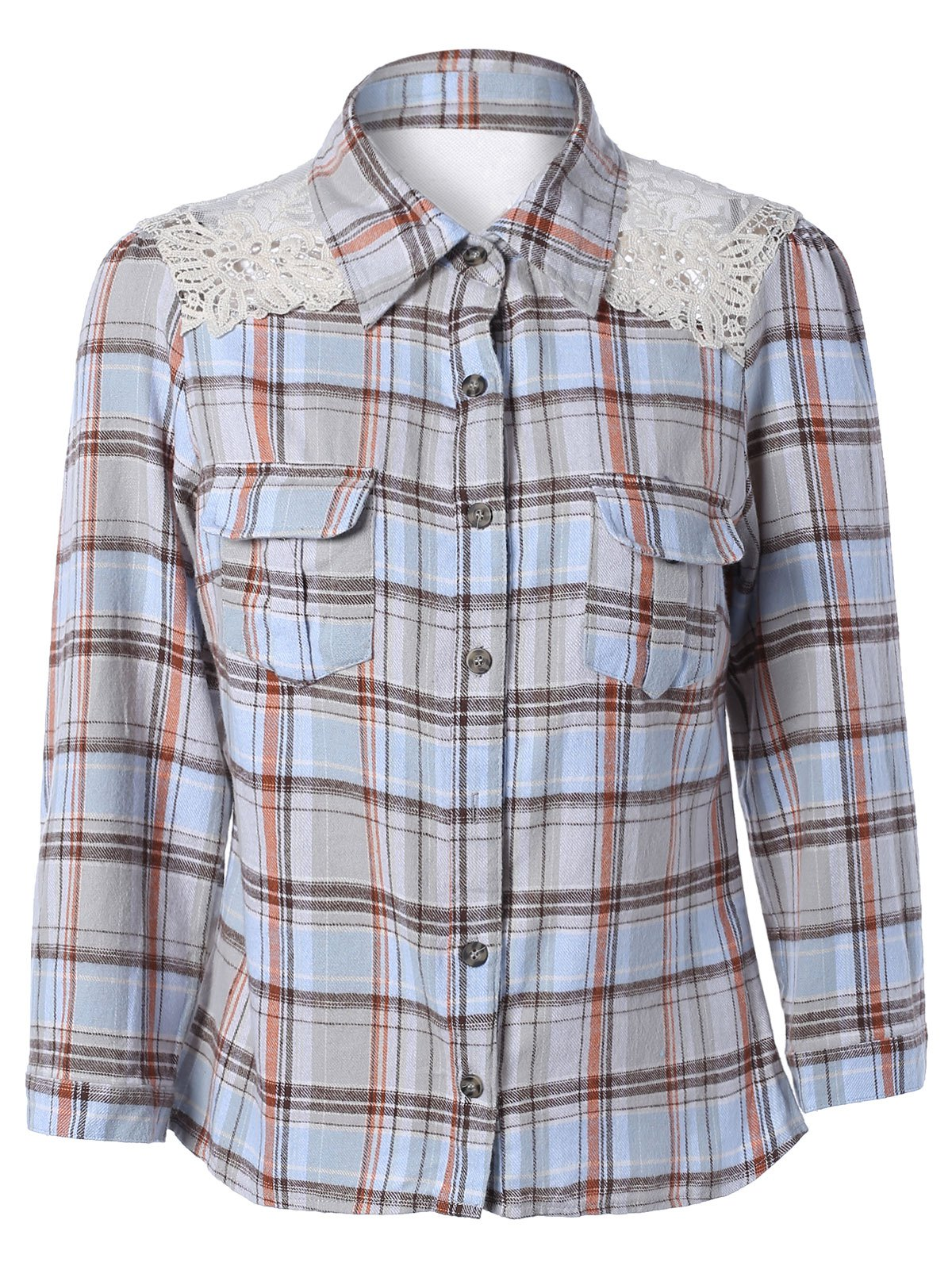 Lace Splicing Long Sleeve Pocket Design Plaid Shirt - CHECKED L