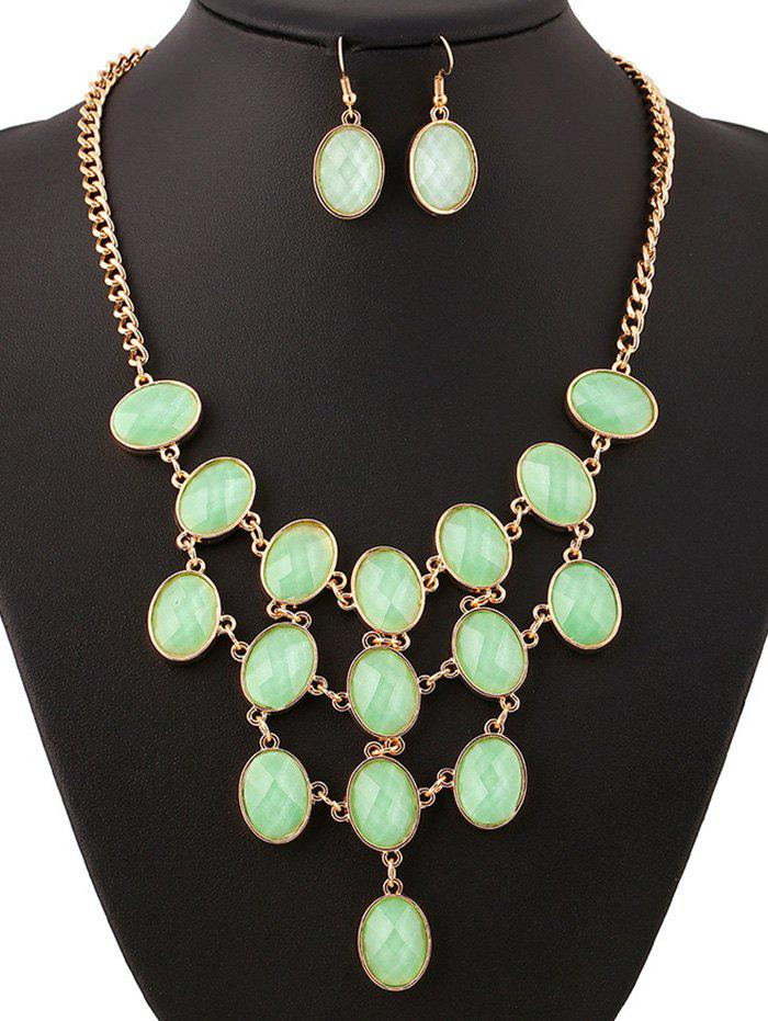 Resin Chandelier Necklace and Earrings - GOLDEN