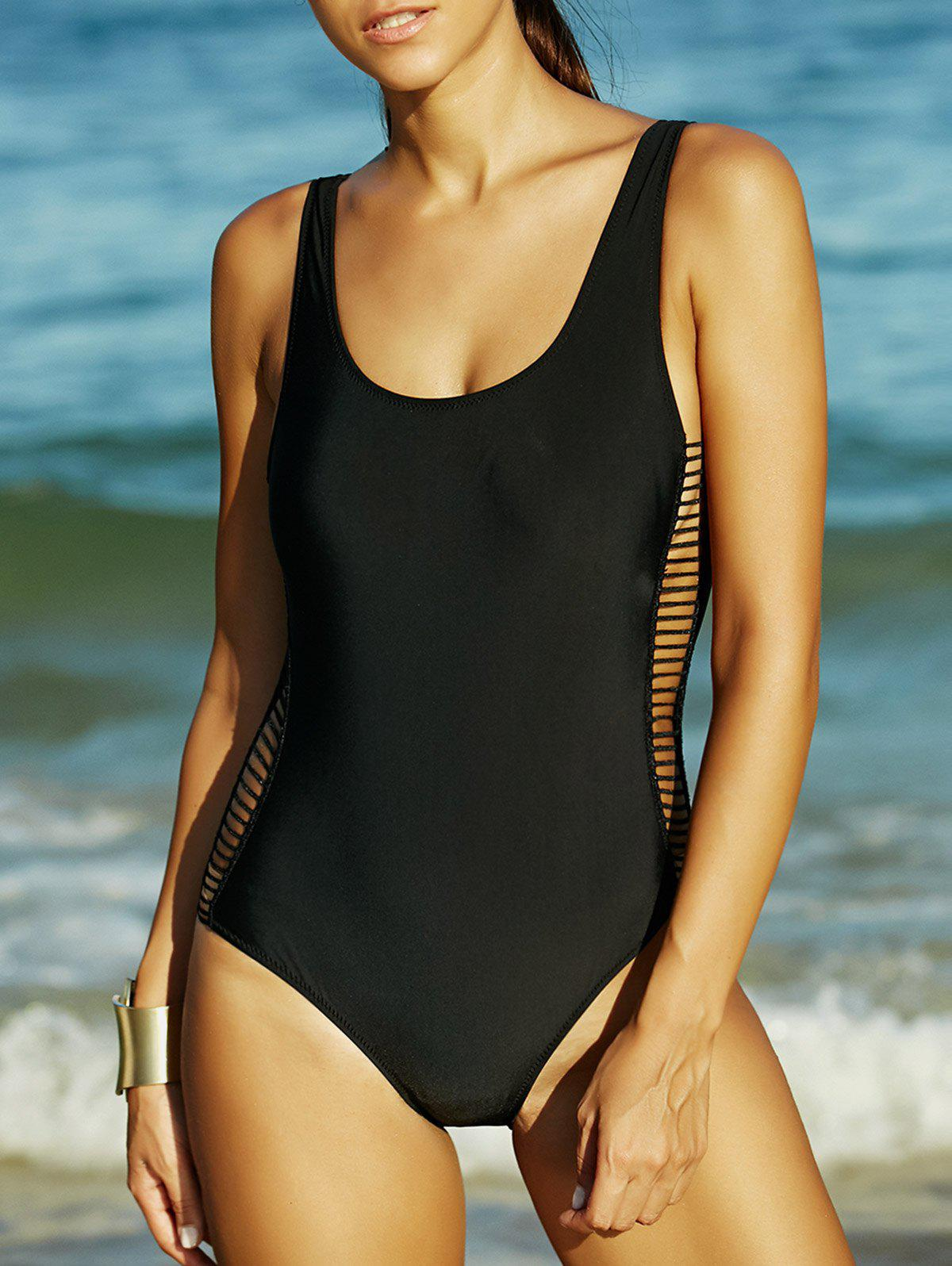 Black Hollow Out Backless One-Piece Swimsuit - BLACK XL