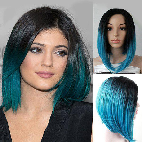 Faddish Women\'s Short Mixed Color Straight Side Parting Synthetic Hair Wig