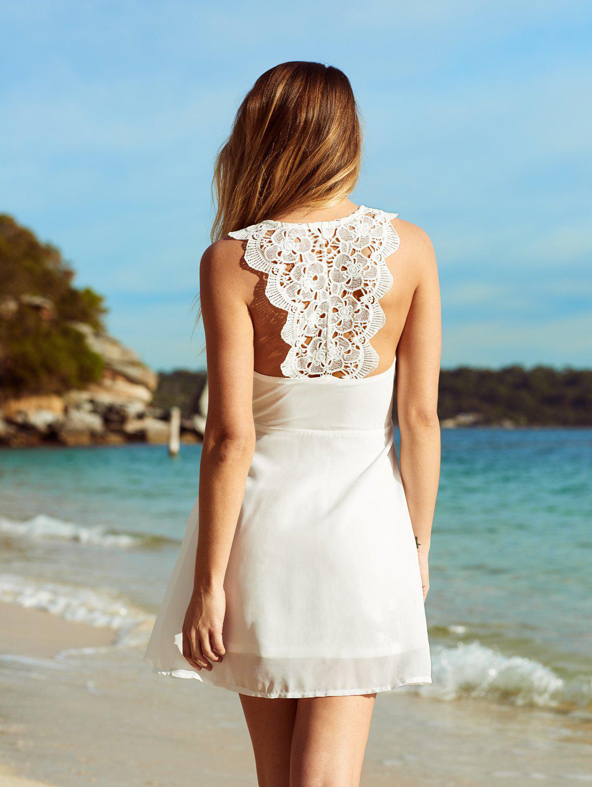 Mini Crochet Chiffon A Line Dress - WHITE L