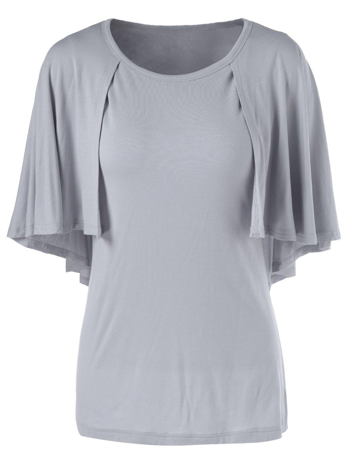 Fashionable Women's 3/4 Sleeve Short Sleeve Solid Color Loose-Fitting T-Shirt - GRAY XL