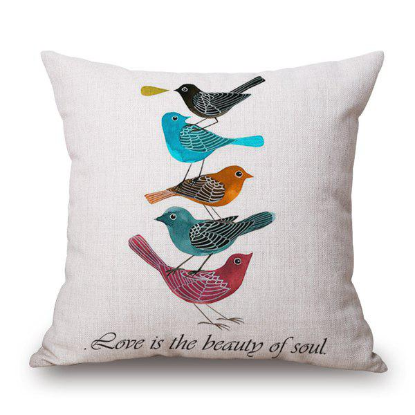 Fashional Five Birds Piled up Plain Base Letter Design Pillow Case - COLORFUL