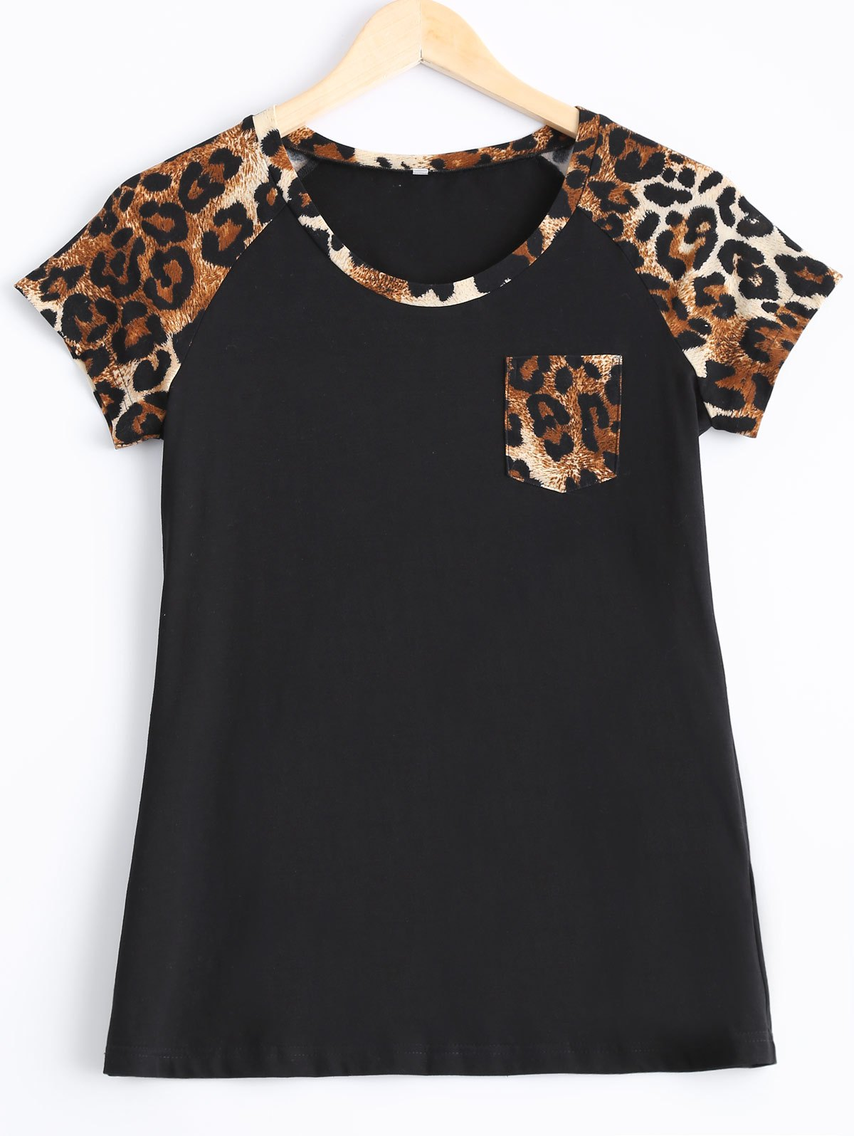 Chic Leopard Print Single Pocket T-Shirt - LEOPARD XL
