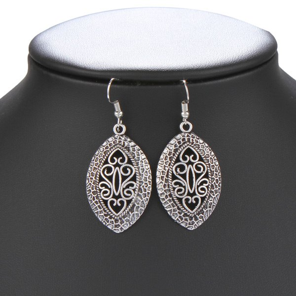 Pair of Ethnic Style Hollowed Leaf Drop Earrings For Women