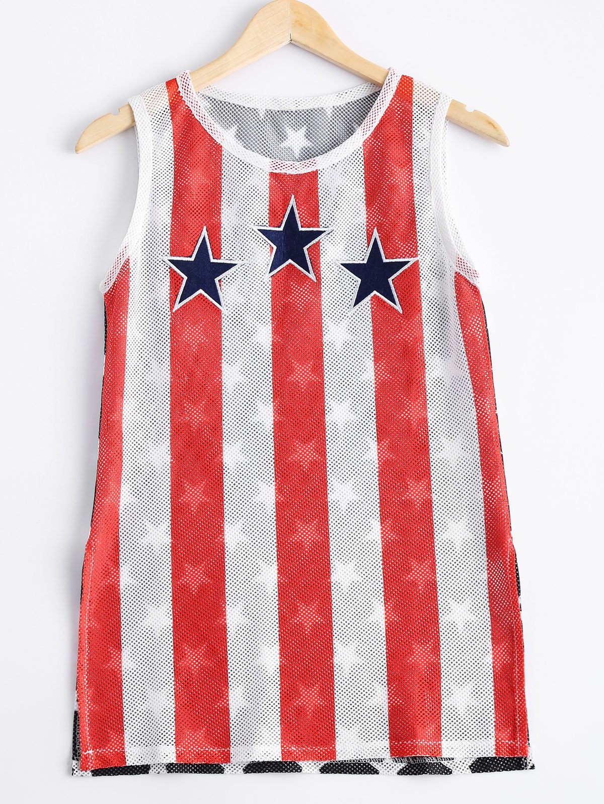 Fashionable Woman's Round Collar Elasticated Net Star Stripe Printing Tank Top