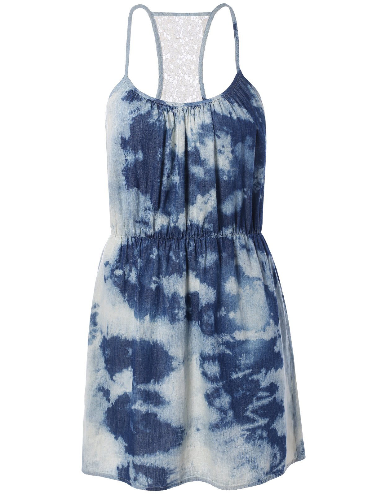 Spaghetti Strap Tie-Dyed Lace Spliced Dress - BLUE L