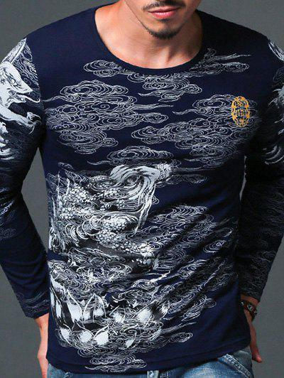 Abstract Print Round Neck Men's Long Sleeve T-Shirt