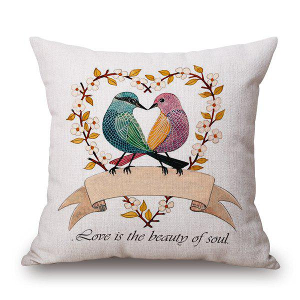 Fashional Love Proverb Pair Magpies Dating Heart Design Pillow Case - BLUE/PINK