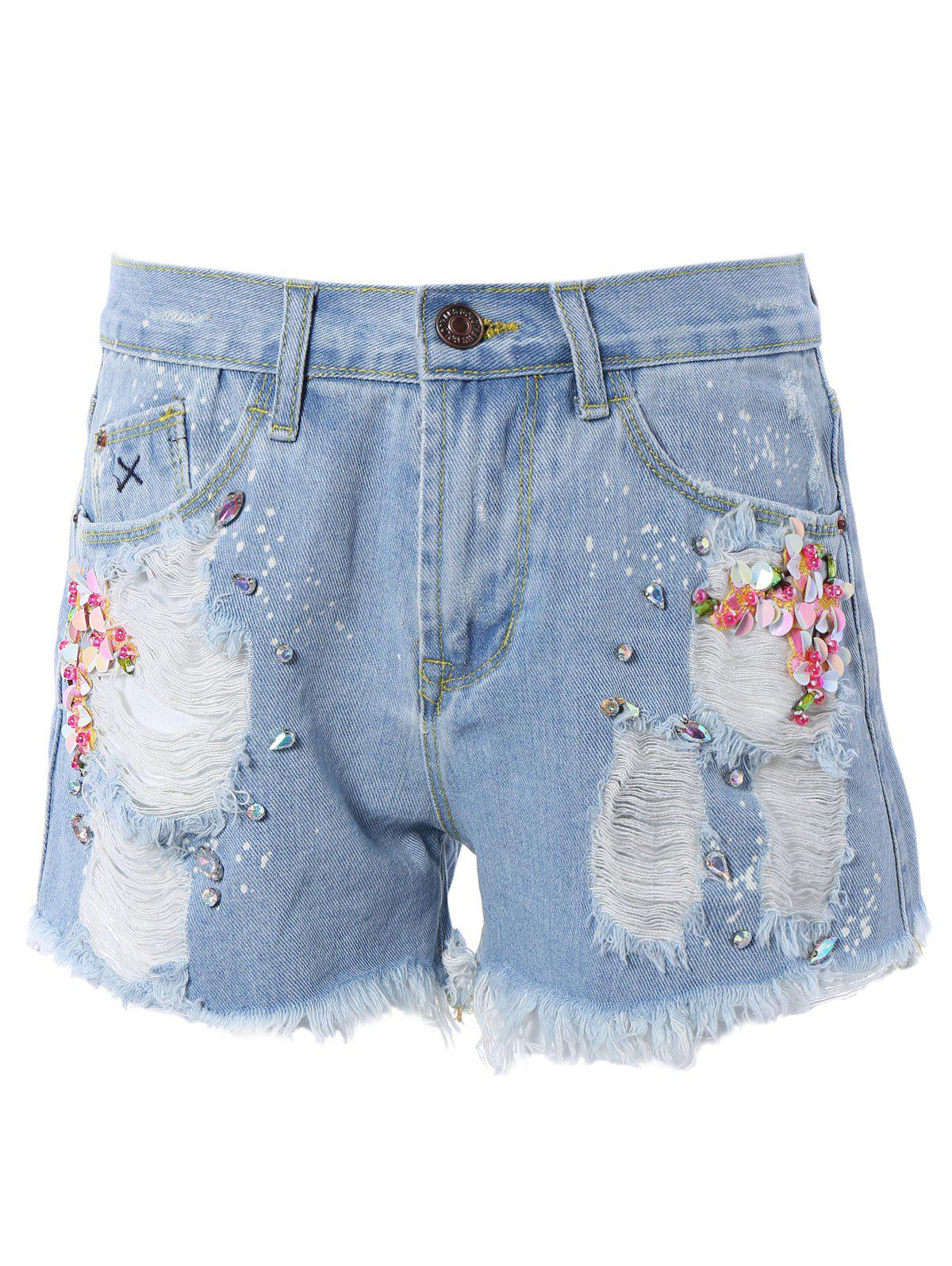 Beaded Ripped Denim Shorts - LIGHT BLUE L
