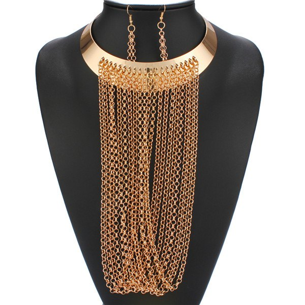 A Suit of Long Fringe Necklace and Earrings - GOLDEN