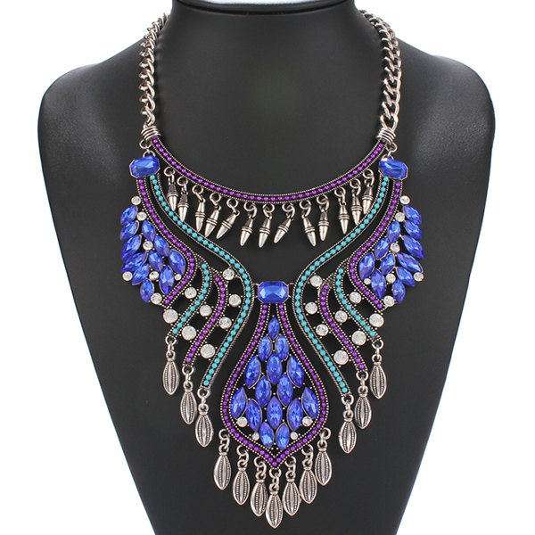 Retro Style Curve Rhinestone Rivet Tassel Geometric Women's Statement Necklace - BLUE
