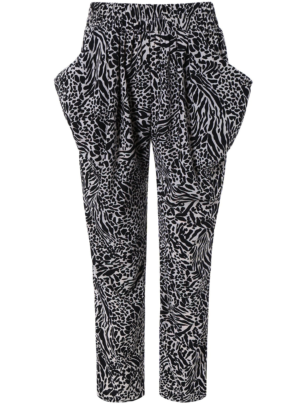 Pocket Design Leopard Print Harem Pants - BLACK M