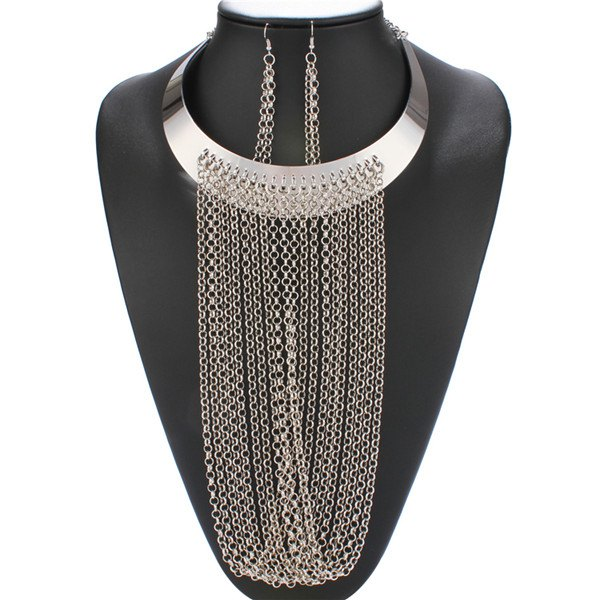 A Suit of Long Chain Fringed Necklace and Earrings - SILVER