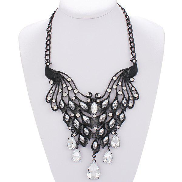 Punk Style Hollow Out Floral Rhinestone Teardrop Tassel Women's Statement Necklace - BLACK