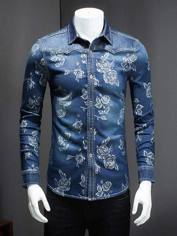 Plus Size Turn-Down Collar Floral Print Long Sleeve Men's Denim Shirt - BLUE 4XL