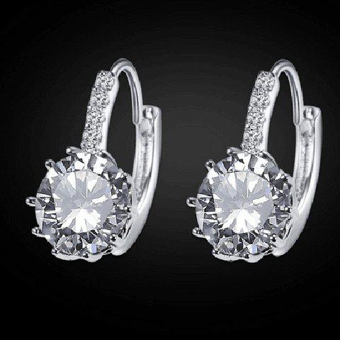 Pair of Chic Style Rhinestoned Hoop Earrings For Women