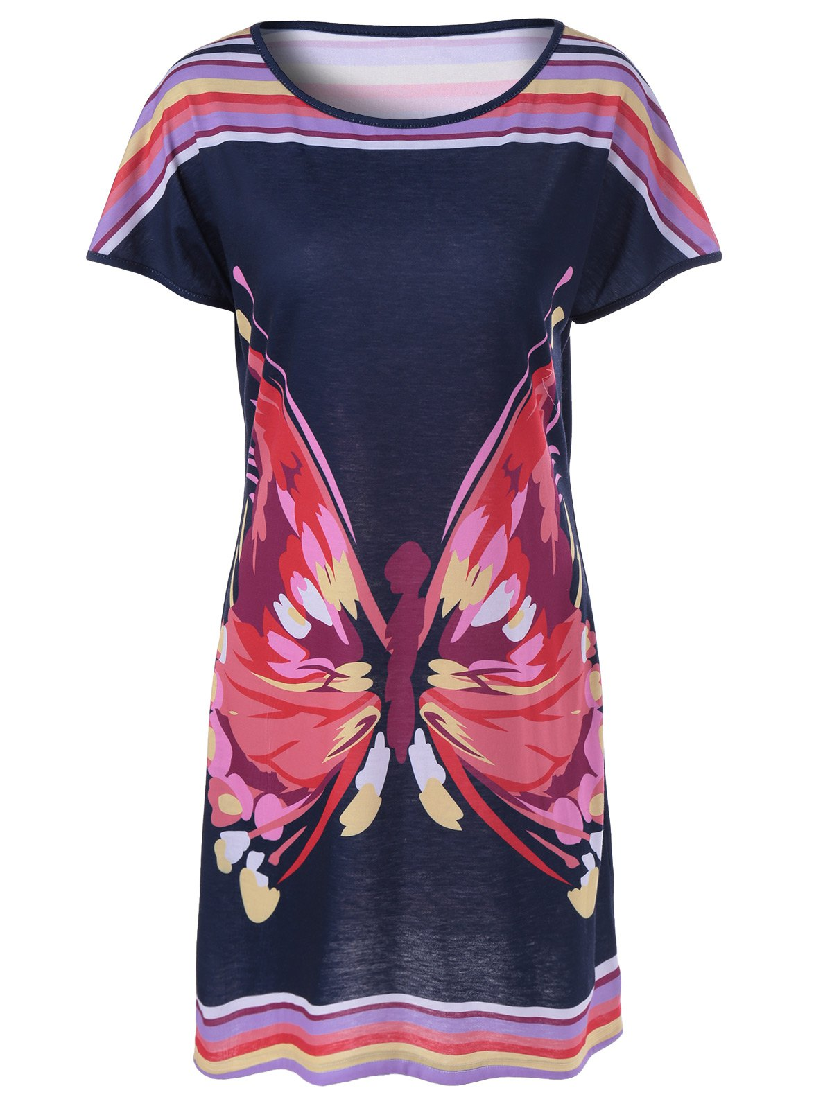 Fashionable Women's Striped Butterfly Print Dress - COLORMIX M
