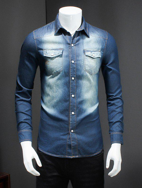 Plus Size Turn-Down Collar Bleach Wash Long Sleeve Men's Denim Shirt - BLUE 7XL