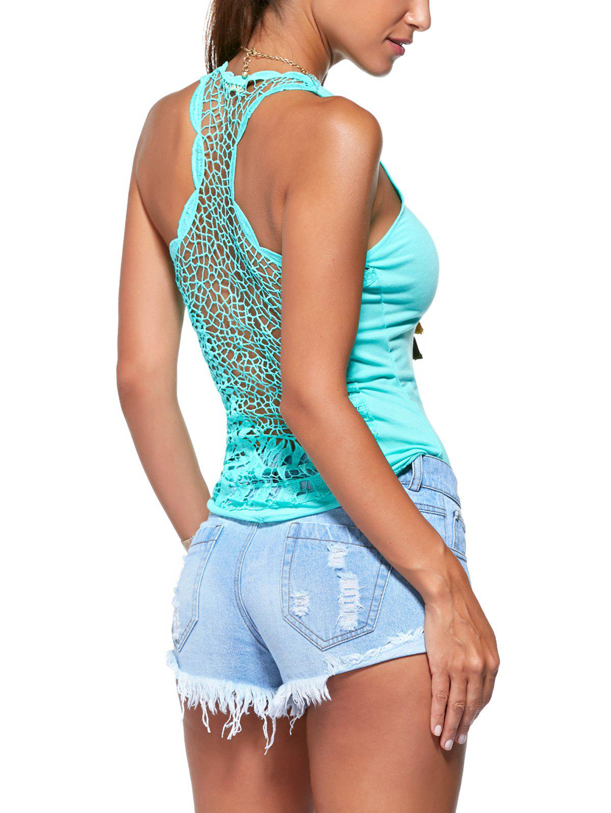 Lace Spliced Back Round Neck Tank Top - ONE SIZE(FIT SIZE XS TO M) TIFFANY BLUE