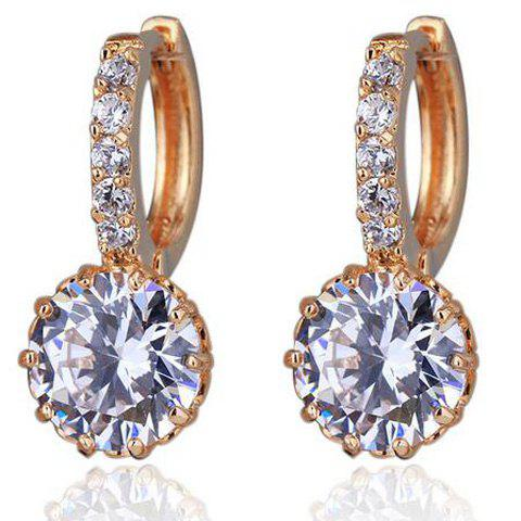 Pair of Delicate Rhinestoned Round Hoop Earrings For Women